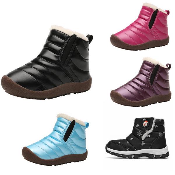top popular Ratail 9 colors kids designer boots Parent-child cotton-padded plus velvet snow boots children warm waterproof hiking shoes baby shoes 2019