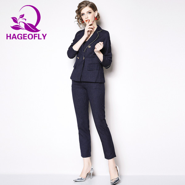 New Stripe Blazer Suits Women Fashion Slim Office Ladies Big Size Business Formal Long Sleeve Blazer with Pants Two Pieces Sets