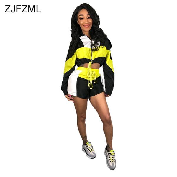 Farbblock 2 Zweiteilige Passende Sets Frauen Reißverschluss Volle Hülse Crop Top Und Club Shorts Lässige Trainingsanzug Sweatsuit Outfits