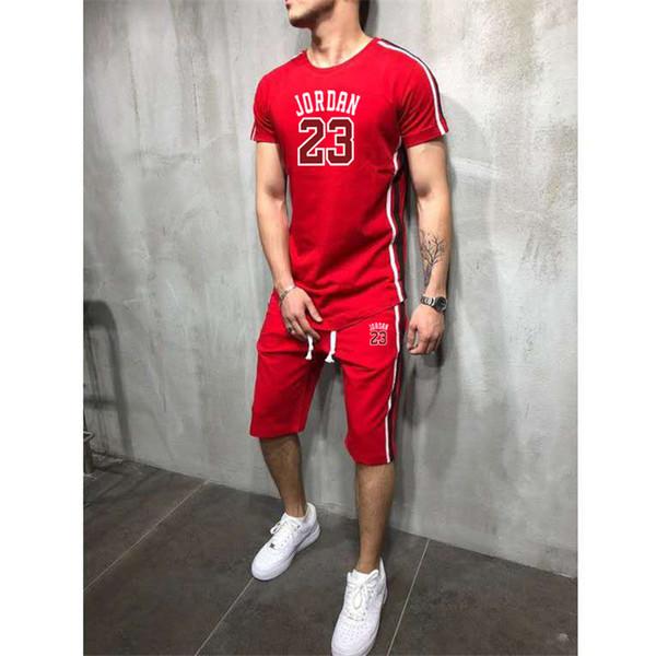2019Summer Vendita calda Set da uomo T-shirt + pantaloni Due pezzi Set Casual Tuta nuovo Maschio Casual Tshirt Palestre Fitness pantaloni uomo