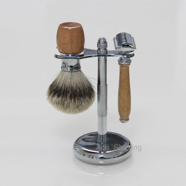 DE Safety Razor Shaving Set Beech Wood & Stainless Chorme Metal Handle Silvertip Badger Hair Brush Stand