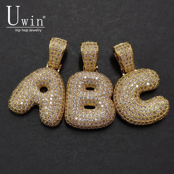 UWIN A-Z Nome personalizzato Bubble lettera iniziale collane del pendente di fascino Per Cubic Zirconia monili di Hip Hop Drop Shipping