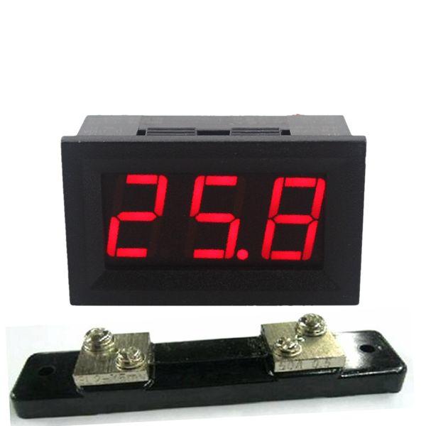 Freeshiping 4PCS LED Display Digital Ammeter DC0-50A 12V 24V 28V Amp Panel Meter Current Detector With 50A/75mV Shunt Resistor Free Shipping
