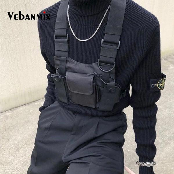 Mode Nylon Poitrine Rig Sac Noir Gilet Hip Hop Streetwear Harnais Tactique Fonctionnel Poitrine Rig Kanye West Wist Pack Poitrine Sac C1902201