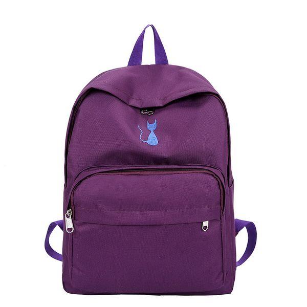 2019 nueva chica hermosa versión coreana de la mochila escolar bordado ligero bolsa de hombro estudiante lindo gato mochila
