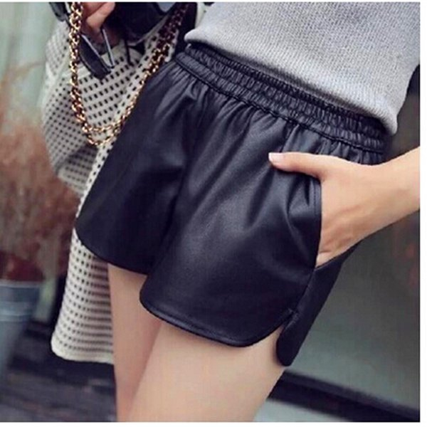 New S-xxl Pu Leather Shorts Women's Black High Quality Short Pants With Pockets Loose Casual Shorts Dk6162
