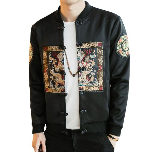 Fall and Winter Chinese Style Chinese Dragon Patterns Chinese Men 'S Jacket Streetwear Bomber Jacket Fashion Jacket Size M-5XL