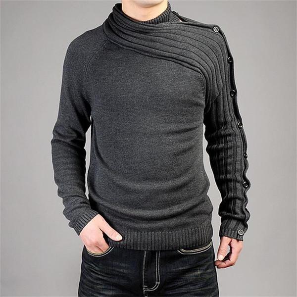 2019 Moda Otoño punto de los hombres y de la personalidad de invierno asimétrico envuelve la manera ocasional del suéter de los hombres delgados de Warm