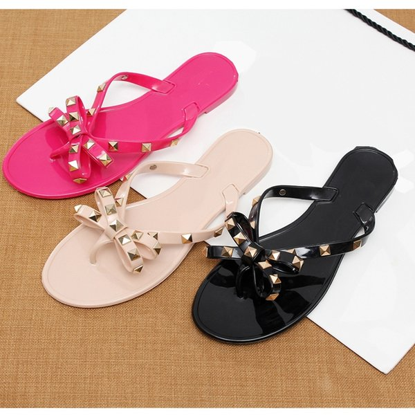 2018 fashion women sandals flat jelly shoes bow V flip flops stud beach shoes summer rivets slippers Thong sandals nude #10118