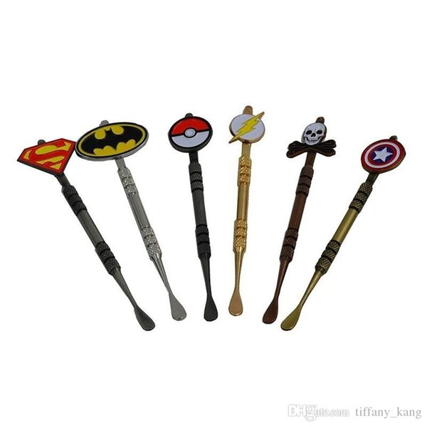 HOT Arrival Wax Dabber tool with Pokeball Batman Captain superhero Flash and Skull Design stickers wax jar Dab tool 120mm DHL Free