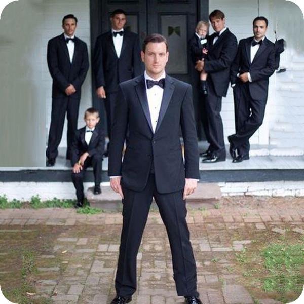 Latest Designs Black Men Suits for Wedding Classic Best Man Blazer Notched Lapel Groom Tuxedo Custom Made Man Jacket 2Piece Costume Homme