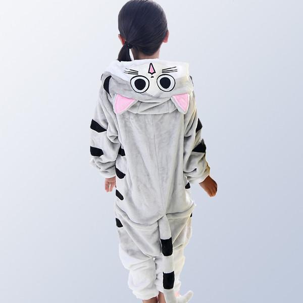 Children Pajamas For Girls Boys Winter Flannel Cartoon Cat Kids Boys Girls Pijamas Baby Pyjamas Sleepwear Onesies For 4 12 Years J190520