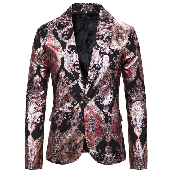 men's red black paisley print tuxedo blazer jacket slim fit single button men blazer party dance stage singers costume homme xxl