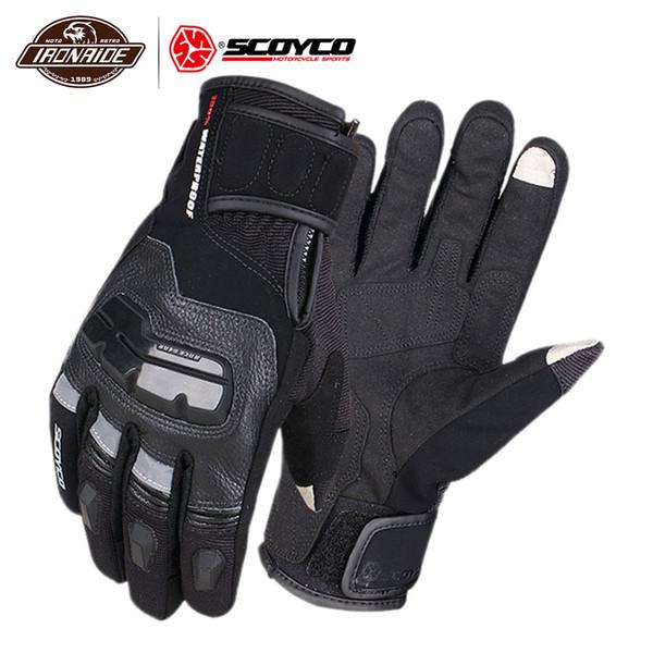SCOYCO Gants moto étanche Hommes Moto Gants en cuir véritable de vache Motocross écran tactile Windproof Riding