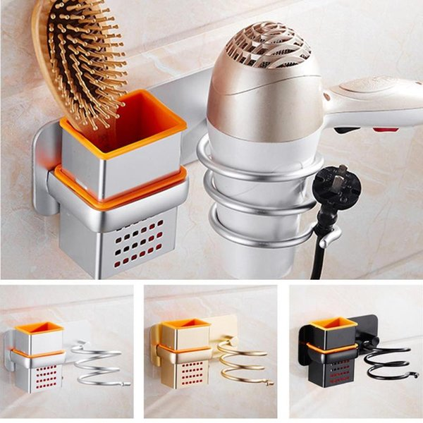 Multi-function Wall Mounted Hair Dryer Holder Rack Space Saving Shelf Storage Organizer Aluminum Hairdryer Holder 3