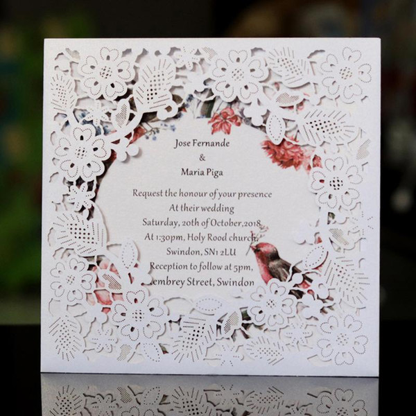 Laser Cut Wedding Invitations Card With Square Hollow Flora For Engagement Invites Greeting Card Invitation Online Card Online Cards From Sakuna