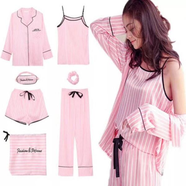 Pigiama a righe rosa Pigiama in raso di seta Femme Set 7 pezzi Pigiama intimo lingerie Pigiama da donna Pigiami Y19071901