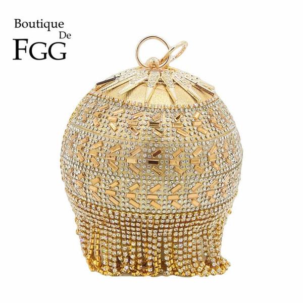 Boutique De FGG rotonda oro circolare diamante nappa nuziale borsa da sposa polsi braccialetti borsa da sera da sera di cristallo pochette di cristallo