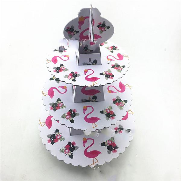 1pcs / set Flamingo Baby Shower Décorations De Fête D'anniversaire Fournitures Carton Cupcake Stand 24 Cupcakes 3 Niveaux