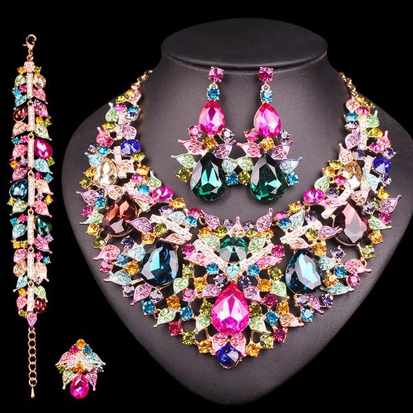 joyas ridal establece Hojas lujo de los pendientes del collar de la joyería Establece los regalos del banquete de boda del baile nupcial india joyería de traje de moda de B ...