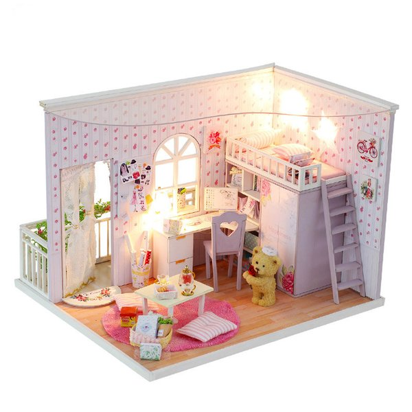 Interest And DIY Hut Happy Real Time Manual Assembling Model Toys Send Men And Women Pink Wood dolls miniature house