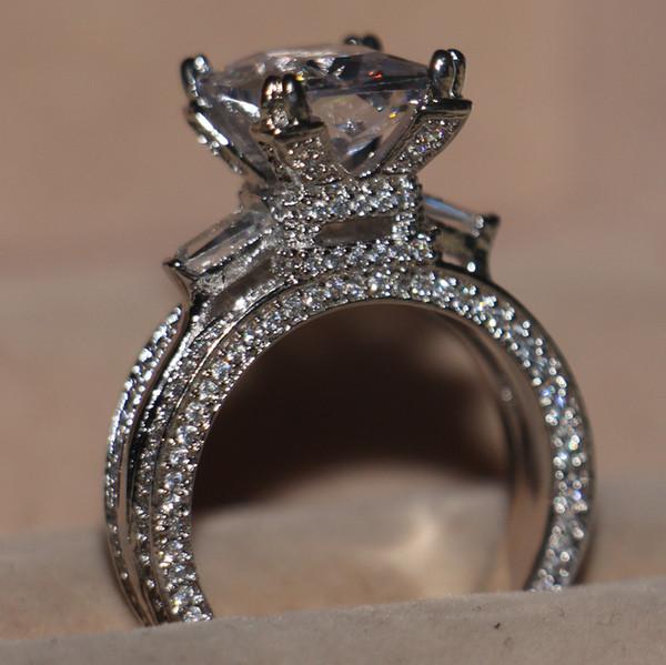 Boyutu 5-11 Sıcak Lüks choucong Takı 925 Ayar Gümüş Beyaz Topaz CZ Elmas Taşlar Düğün için Eyfel Kulesi Kadın Yüzük Lovers 'Hediye