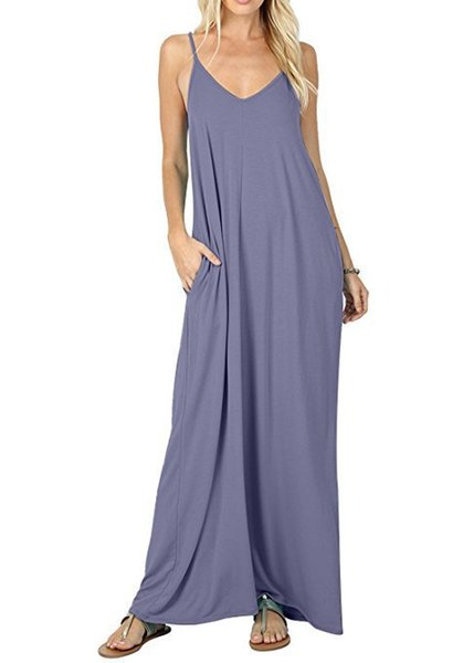 10 Color Womens Long Summer Dress Modal Spaghetti Solid Color Pocket V-Neck Fashion Bohemian Maxi Dress Muslim Casual Dress XXL DHL Free