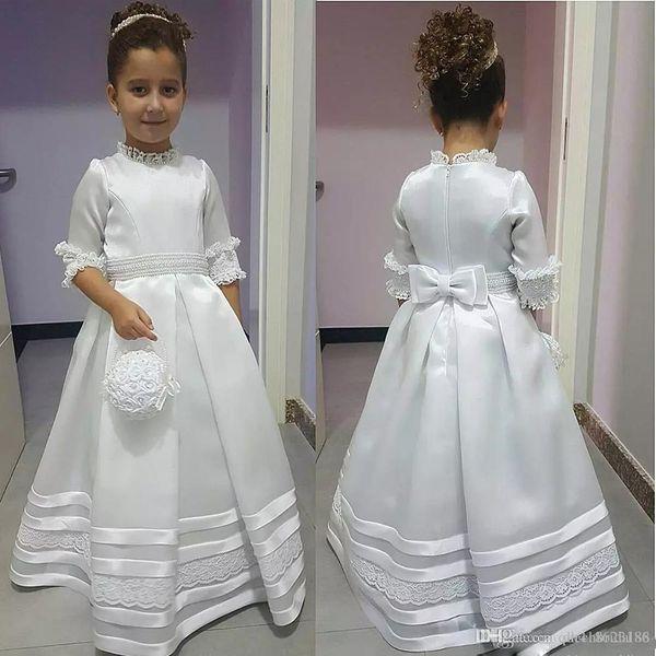 Düğünler Yarım Kollu A Hattı Parti Gowns CG01 için İlk Communion Elbise Yeni Yüksek Yaka Fermuar Geri Bow Çiçek Kız Elbise