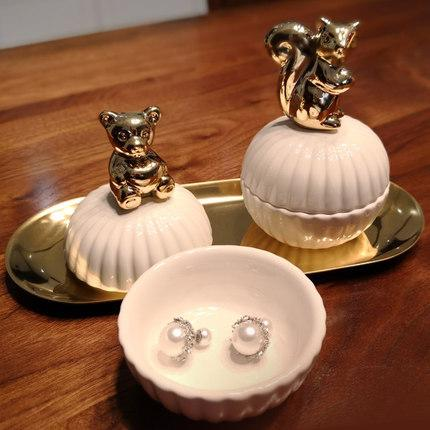 Comb dressing table earrings ring storage box ceramic jewelry ring box cute creative gold decorative storage