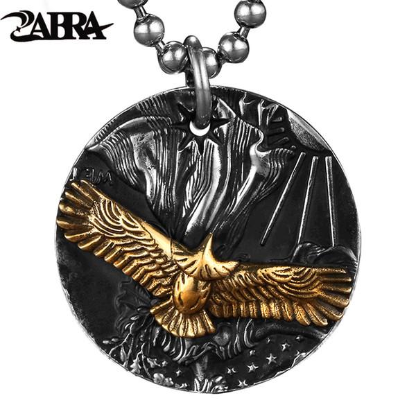ZABRA gótico autêntico puro 999 Sterling Silver Redonda Brass Eagle Pendant For Men Punk Vintage Rocha Thai Silver Jewelry por Homem