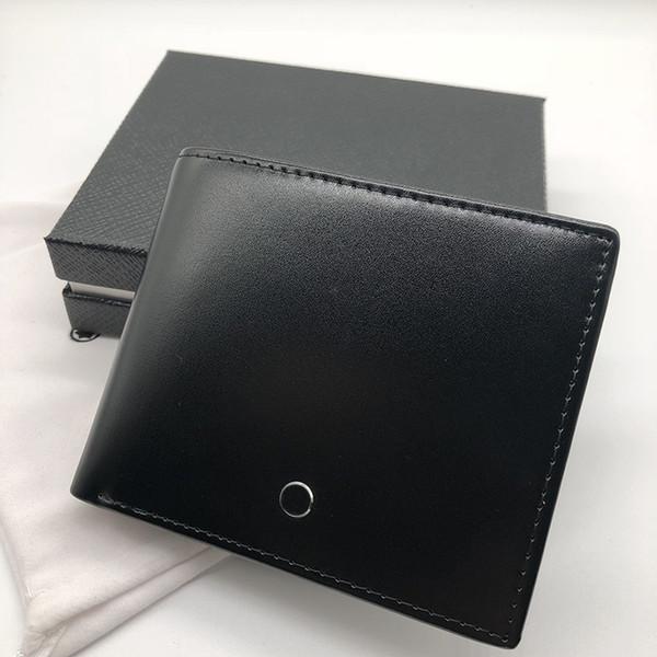 Luxury leather wallet short clip MB card artificial craft craft brand designer card case MT business card holder photo frame dust bag box