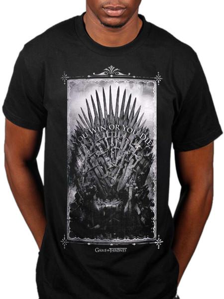 Offizielles Game Of Thrones NEU Gewinnen oder Sterben Schwertthron Unisex T-Shirt Merch Tv Hbo Männer Frauen Unisex Mode T-Shirt Kostenloser Versand schwarz