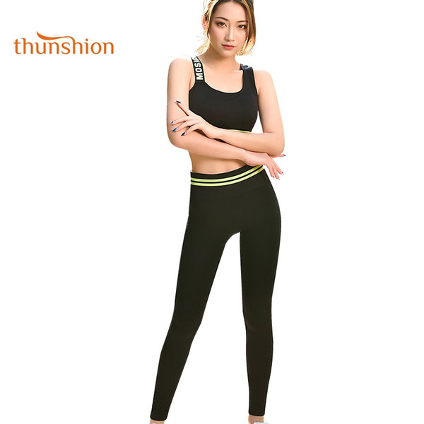 THUNSHION 2018 New Arrival 2 piece Breathable Elastic Tight Sport Set Women for Fitness Gym Running Yoga Clothing Letter Pattern #680781