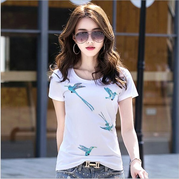 Women Summer Novelty Birds Design T shirt vintage tops Hot Sales Tee Shirts T5190605