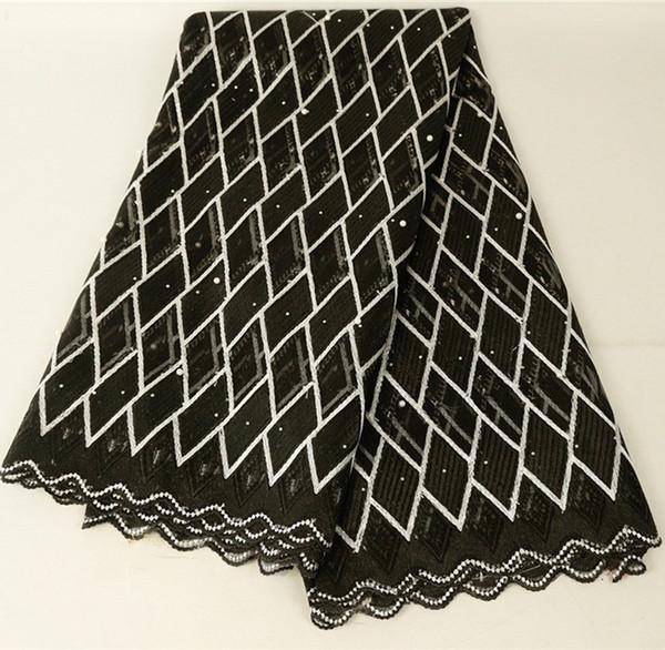 Tela de encaje africano 2019 bordado nigeriano cordones tela nupcial de alta calidad de tela de encaje de tul francés para mujeres vestido 426-24