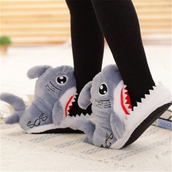 Winter Women Shoes Warm Slippers Funny Slippers Men Women Soft Bottom House Indoor Floor Shark Shape Furry Shallows