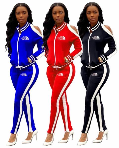luva longa das mulheres duas peças conjunto de roupas de treino sportswear calças jaqueta agasalho calças moletom com capuz cardigan bodycom sportswear klw3084 quente