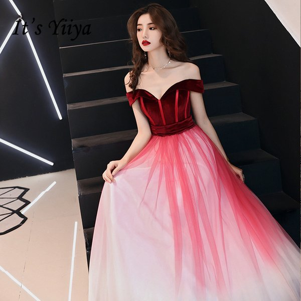 It's YiiYa Long Evening Dress Wine Red Gradient Color Long Formal Gown Sexy Off The Shoulder Chiffon Party Dresses