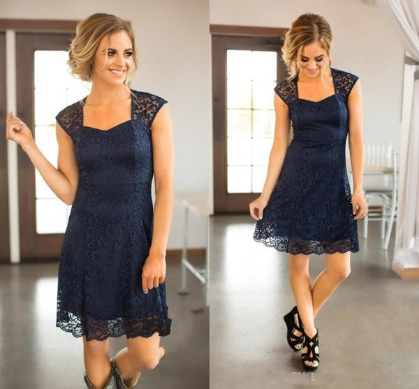 2018 Cheap Bridesmaid Dresses Country Short For Weddings Full Lace Cap Sleeves Navy Blue Burgundy Open Back Plus Size Maid of Honor Gowns
