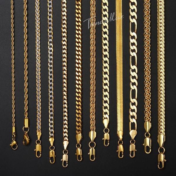 Collar para las mujeres de los hombres Gold Filled cuerda Figaro serpiente Cuban Link Cadena para mujer para hombre de moda Hip Hop joyería 18-24