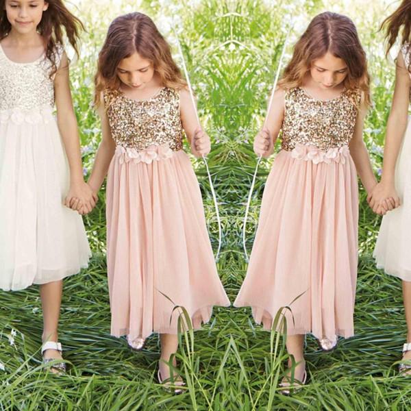 Rose Gold Sequins Çiçek Kız Parti Elbise El Yapımı Çiçek Kanat Çay Boyu Tül mücevher A Hattı Çocuklar Örgün ilk komünyonu Elbise