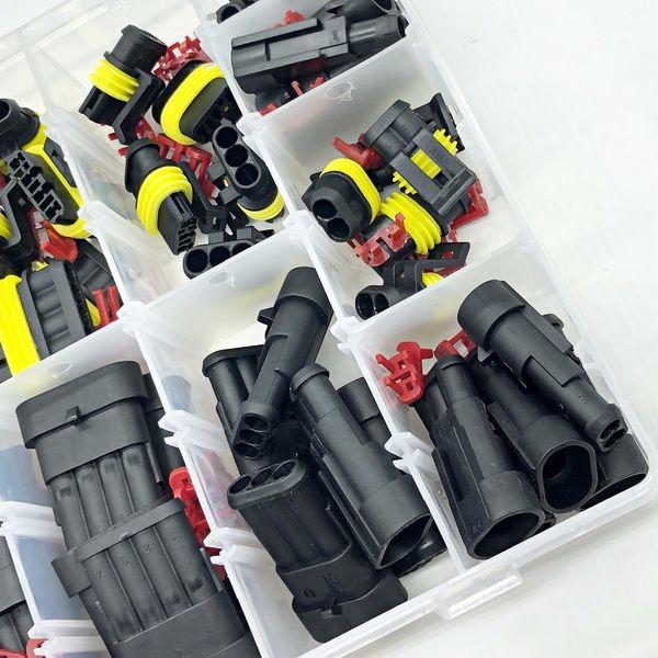 Freeshipping 472 Pcs Superseal Tyco impermeable 12V Cable eléctrico Juegos de conectores con kits de crimpado y fusibles del automóvil pequeño tamaño mediano