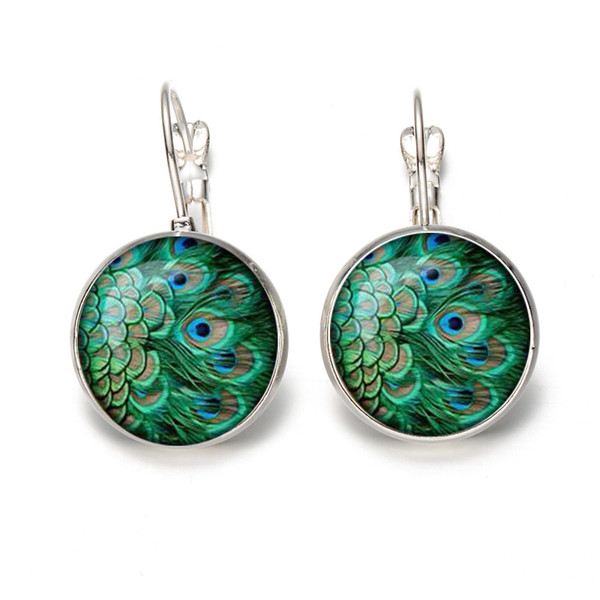 Fashion Crystal Glass Peacock Feathers Earrings Time Gem Charms Peacock Jewelry Elegant Stud Earrings for Women Lady Girls Party Gift M102F