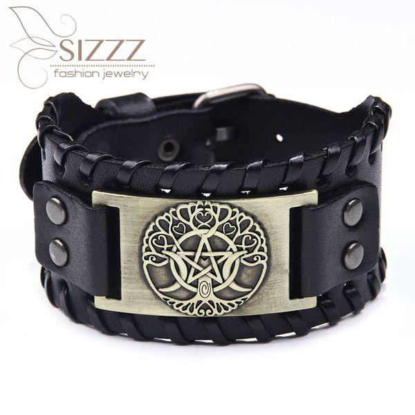 SIZZZ 2019 Neue fünfzackige Leder-Modetrend Mondbaum Flut männliche Braceletbangles für Männer
