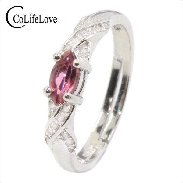 Fashion Silver Pink Tourmaline Ring 100% Real Pink Tourmaline Engagement Ring Solid 925 Silver Tourmaline Jewelry Birthday for Girl
