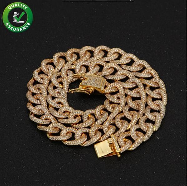 33bbf25578c1 Helado hacia fuera Cadenas Diseñador de Hip Hop Collar de lujo Rap Rock  Diamond Cadena de eslabones cubanos Micro pavimentado Bling CZ Oro  Accesorios de ...