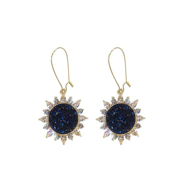 Korean Style Cute Fashion Strass Sonnenblume Baumeln Ohrringe für Frauen Ohrringe Shiny Side Kristall Geschenk Blume Hochzeit Ohrringe
