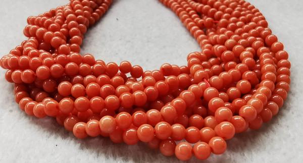 top popular genuine rare Red Coral Smooth Round Beads Natural Stone Gemstone 5-6mm 16inch 2021