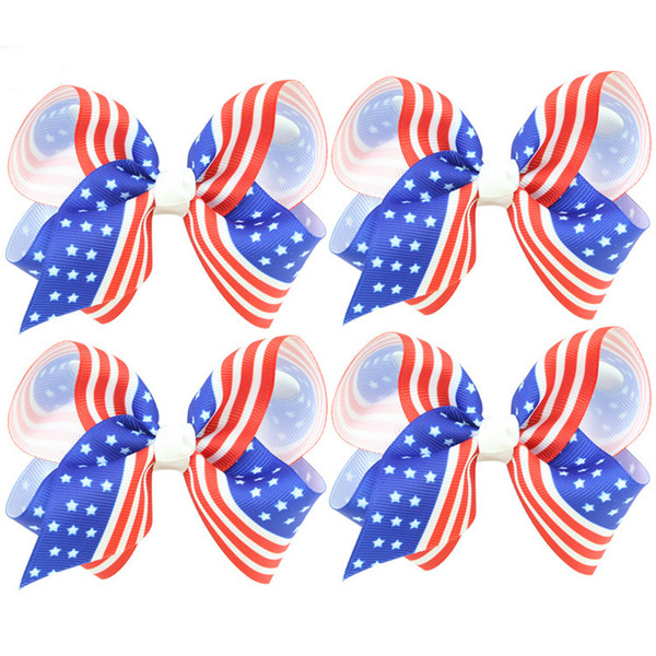 Children's Hair Clip Bow Knot Patriotic Holiday Hair Decoration American Independence Day Star Flag Duck Beak CLIP National Day Accessories