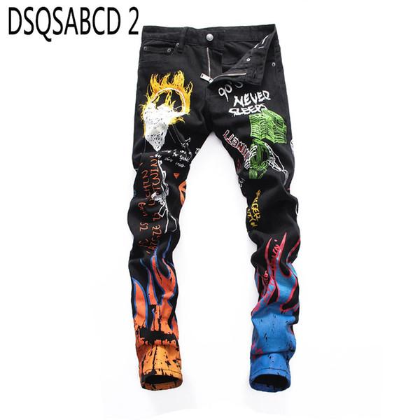 European American Style men Denim jeans zipper slim brand black white letter print jeans Pencil Pants for men 8052